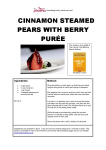 CINNAMON STEAMED PEARS WITH BERRY PUREE